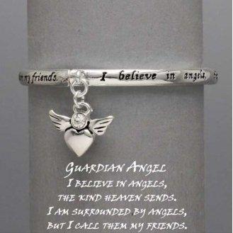 Religious I Believe in Guardian Angel Charm Bracelet