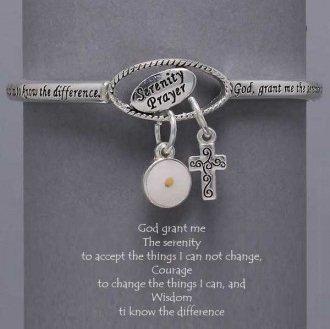 Religious Serenity Prayer Cross Mustard Seed Charm Bracelet