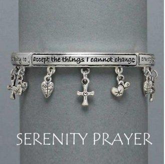 Religious Serenity Prayer Cross Heart Charm Bracelet
