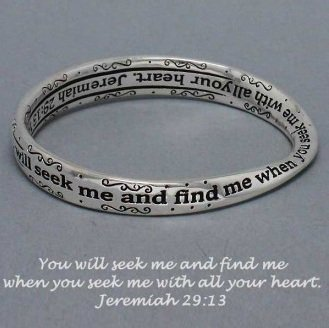 Religious Jeremiah 29:13 You Will Seek Me Bangle Bracelet