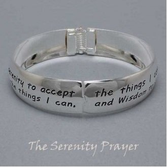 Religious Serenity Prayer Bangle Silver Tone Bracelet