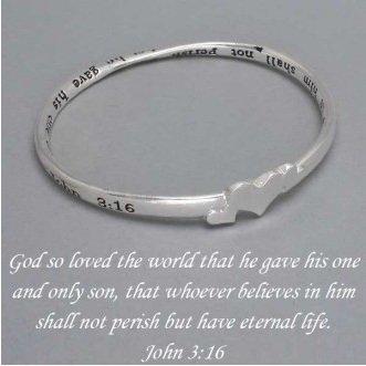 Religious John 3:16 For God So Loved the World Bangle Silver Tone Bracelet