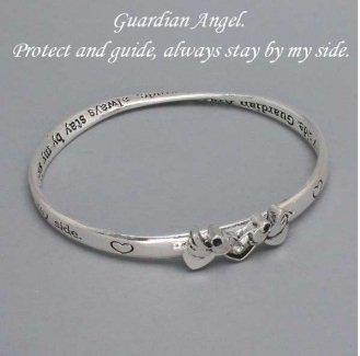Religious Guardian Angel Angels Bangle Silver Tone Bracelet