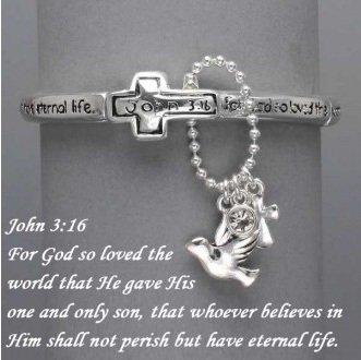 Religious John 3:16 God So Loved the World Charm Silver Tone Bracelet
