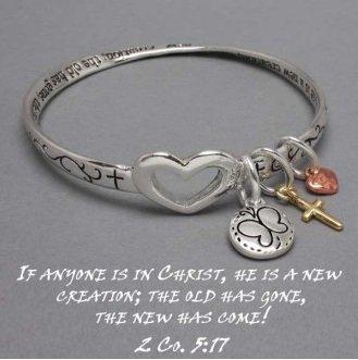Religious 2 Corinthians 5:17 He Is a New Creation Charm Bracelet