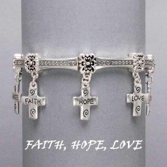 Religious Faith Hope Love Cross Charm Bracelet