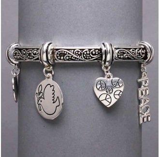 Religious Peace Dove Charm Bracelet