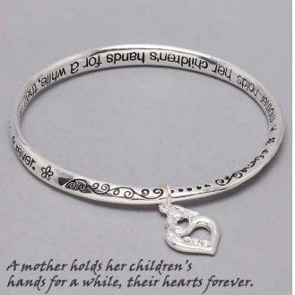 Religious Mother Holds Her Children Heart Love Charm Bracelet