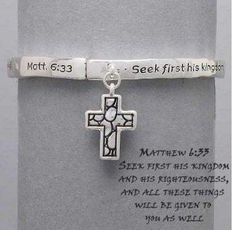 Religious Matthew 6:33 Seek First His Kingdom Charm Bracelet