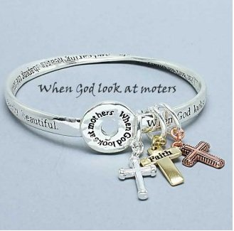 Religious When God Looks at Mothers Cross Charm Bracelet