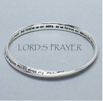 Religious Lords Prayer Mobius Bangle Bracelet