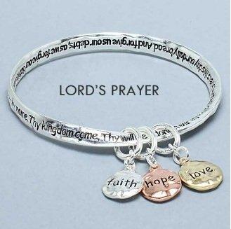 Religious Lords Prayer Faith Hope Love Charm Bracelet