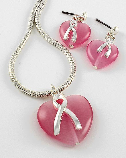 Pink Ribbon Breast Cancer Silver Tone Heart Necklace Set