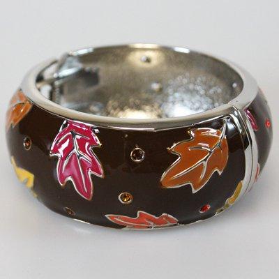Brown Fall Leaf Bangle Bracelet