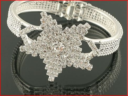 Snow Flake Crystal Bangle Bracelet