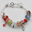 Number One 1 Mom Mother Murano Glass Charm Bracelet