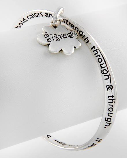 Sisters Prayer Flower Love Charm Bracelet