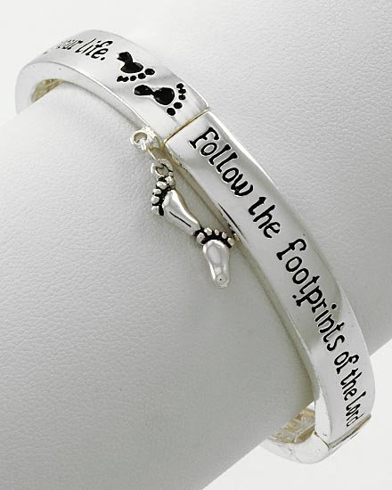 Inspirational Religious Follow the Footprints of the Lord Charm Bracelet