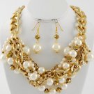Gold Tone Beige Cream Off White Pearl Metal Necklace Set