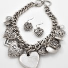 Silver Tone Heart Love Chunky Metal Valentines Day Necklace Set