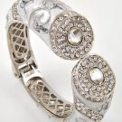 White Clear Crystal Fold Over Bangle Bracelet