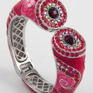 Red AB Aurora Borealis Siam Crystal Fold Over Bangle Bracelet