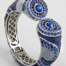 Blue Sapphire Crystal Fold Over Bangle Bracelet