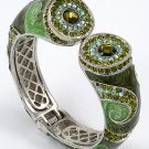 Green Peridot Crystal Fold Over Bangle Bracelet