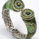 Green Peridot Crystal Fold Over Bangle Bracelet