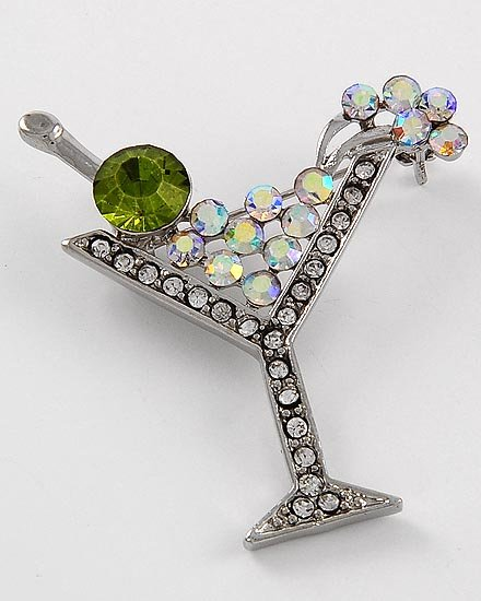 Green AB Aurora Borealis Cocktail Martini Drink Brooch Pin