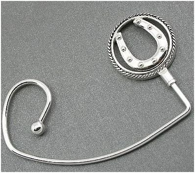 Western Circle Horseshoe Silver Tone Handbag Purse Hook Caddy Holder