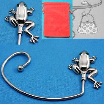 Frog Silver Tone Handbag Purse Hook Caddy Holder