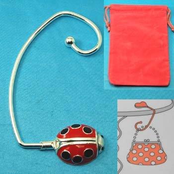 Ladybug Lady Bug Silver Tone Handbag Purse Hook Caddy Holder
