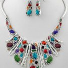 Silver Tone Multicolor Multi Color Tribal Metal Necklace Set
