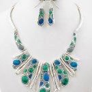 Silver Tone Blue Tribal Bib Metal Necklace Set