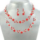 Red Flower Bridal Wedding Bracelet Three 3 Piece Necklace Set