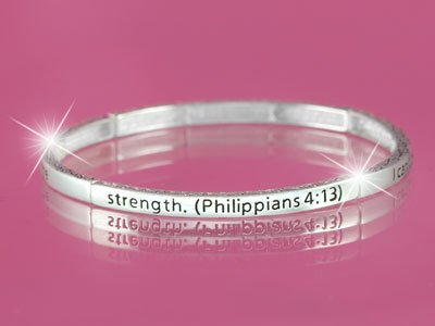 Philippians 4:13 I Can Do Everything Through Him Religious Stackable Bracelet