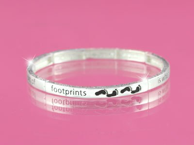 Footprints Footsteps Foot Prints Religious Stackable Bracelet