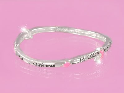 Make a Difference Breast Cancer Awareness Pink Ribbon Stackable Bracelet