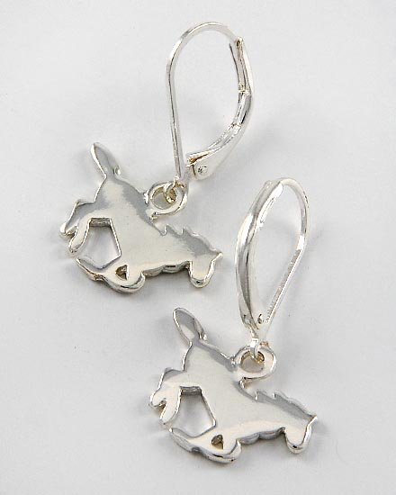 Silver Tone Horse Pony Western Earrings