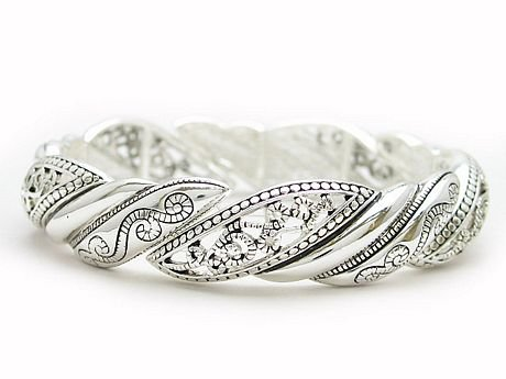 Silver Tone Filigree Bangle Bracelet