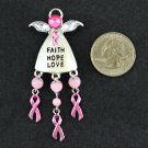 Pink Ribbon Breast Cancer Awareness Faith Hope Love Brooch Pin