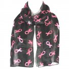 Black Pink Ribbon Breast Cancer Awareness Scarf