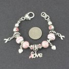 Pink Ribbon Breast Cancer Awareness Love Bracelet
