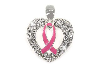 Pink Ribbon Breast Cancer Awareness Crystal Pendant