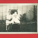 RPPC BABY IN BABY BUGGY STROLLER & LITTLE BOY