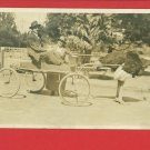 RPPC LOS ANGELES OSTRICH FARM WAGON CALIFORNIA MAN WOMAN 1921 RP POSTCARD