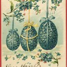 EASTER 3 BLUE EGGS COLORED FLOWERS RIBBONS UB POSTCARD