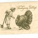THANKSGIVING GREETINGS BOY ANGEL WITH AXE  POSTCARD