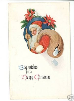 SANTA CLAUS CHRISTMAS TORN BAG POSTCARD 1915